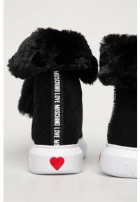 Czarne botki Love Moschino z okrągłym noskiem, na sznurówki
