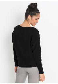 Czarny sweter bonprix z dekoltem w łódkę, w prążki #6