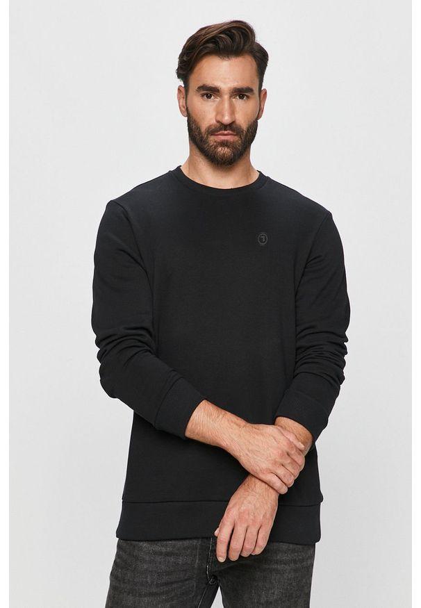 Czarna bluza nierozpinana Trussardi Jeans klasyczna, z okrągłym kołnierzem, z aplikacjami