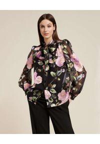 Luisa Spagnoli - LUISA SPAGNOLI - Czarna koszula w kwiaty LUISELLA. Typ kołnierza: kokarda. Kolor: czarny. Wzór: kwiaty