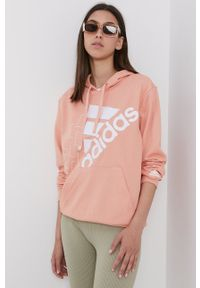 Adidas - adidas - Bluza. Okazja: na co dzień. Kolor: pomarańczowy. Materiał: bawełna. Wzór: nadruk. Styl: casual