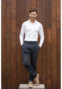 VEVA - Biała Dzianinowa koszula męska Soft touch. Okazja: na co dzień. Typ kołnierza: kołnierzyk klasyczny. Kolor: biały. Materiał: dzianina. Długość: długie. Styl: wizytowy, klasyczny, elegancki, casual