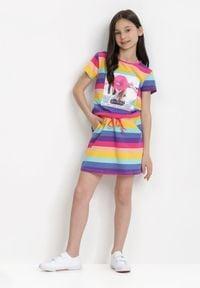 Born2be - Fioletowa Sukienka Thalusei. Kolor: fioletowy. Materiał: bawełna, dzianina. Długość rękawa: krótki rękaw. Wzór: aplikacja, paski, nadruk. Sezon: lato. Typ sukienki: trapezowe. Długość: midi #3