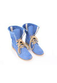 Niebieskie botki Zapato sportowe, w ażurowe wzory, z cholewką za kostkę, na spacer