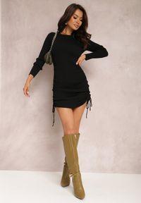 Renee - Czarna Sukienka Haidiala. Kolor: czarny. Materiał: dzianina, skóra, prążkowany. Długość rękawa: długi rękaw. Wzór: jednolity. Styl: klasyczny. Długość: mini