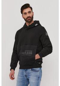 Czarna bluza nierozpinana Calvin Klein Jeans casualowa, z aplikacjami