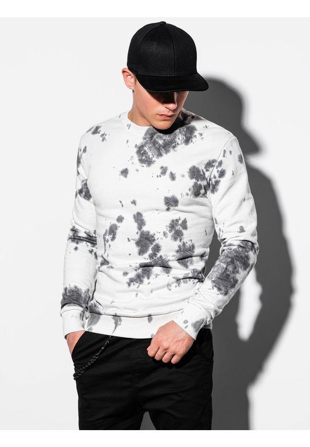 Biała bluza Ombre Clothing bez kaptura, klasyczna
