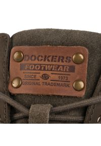 Zielone botki Dockers na obcasie, z cholewką, na średnim obcasie