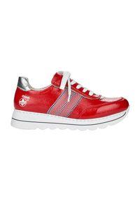 Czerwone sneakersy Rieker z cholewką