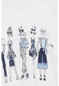 Niebieska bluzka z krótkim rękawem Mayoral krótka, z nadrukiem