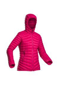 FORCLAZ - Kurtka trekkingowa puchowa - komfort -5°C - TREK 100 - damska. Kolor: różowy, czerwony, wielokolorowy. Materiał: puch