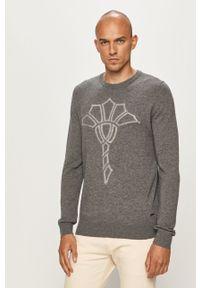 Szary sweter JOOP! długi, z długim rękawem, z aplikacjami