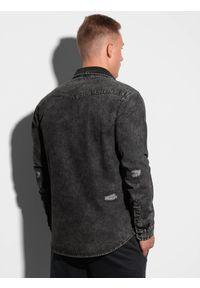 Ombre Clothing - Koszula męska z długim rękawem K567 - czarna - XXL. Kolor: czarny. Materiał: bawełna, jeans. Długość rękawa: długi rękaw. Długość: długie. Styl: klasyczny