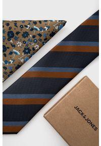 Jack & Jones - Krawat i poszetka. Kolor: beżowy. Materiał: materiał