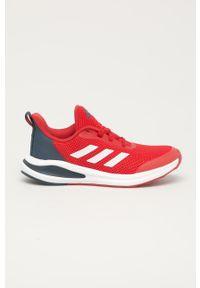 Czerwone buty sportowe adidas Performance z cholewką, na sznurówki
