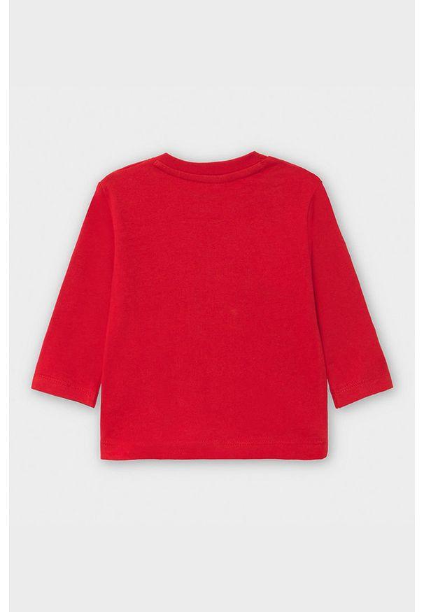 Czerwona koszulka z długim rękawem Mayoral casualowa, z nadrukiem, na co dzień