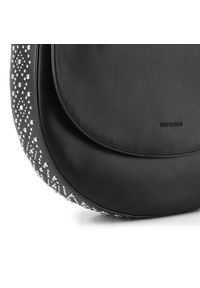 Czarna torebka worek Wittchen z aplikacjami, zdobiona