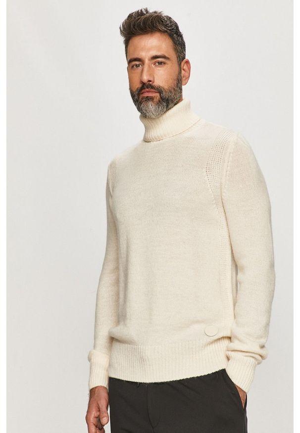 Biały sweter Trussardi Jeans z golfem, długi