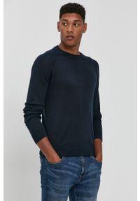 !SOLID - Sweter. Okazja: na co dzień. Kolor: niebieski. Materiał: bawełna, dzianina. Długość rękawa: raglanowy rękaw. Styl: casual