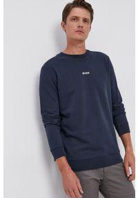 BOSS - Boss - Bluza Boss Casual. Okazja: na co dzień. Kolor: niebieski. Materiał: dzianina. Wzór: gładki. Styl: casual