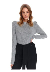 Szary sweter TOP SECRET długi, z długim rękawem, na co dzień, w kolorowe wzory