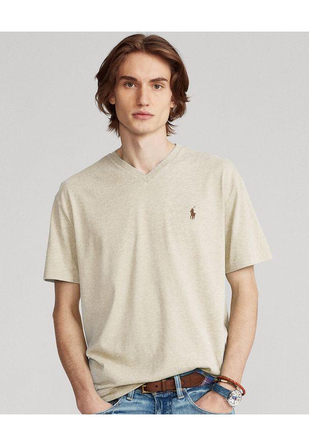 Ralph Lauren - RALPH LAUREN - Melanżowy t-shirt w serek Custom Fit. Typ kołnierza: dekolt w serek. Kolor: beżowy. Materiał: bawełna. Wzór: melanż