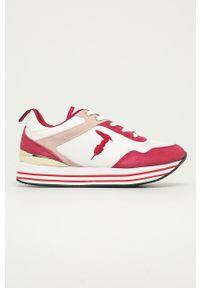 Czerwone buty sportowe Trussardi Jeans na sznurówki, z okrągłym noskiem, z cholewką