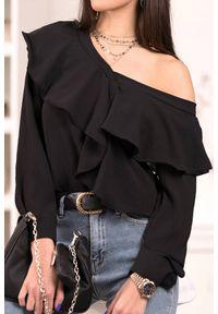 Czarna bluzka IVET na co dzień, z falbankami