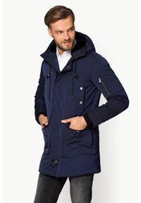 Niebieska kurtka Lancerto casualowa, w kolorowe wzory, na zimę, długa