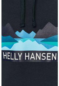 Niebieska bluza nierozpinana Helly Hansen casualowa, z kapturem, z nadrukiem