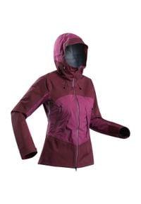 FORCLAZ - Kurtka trekkingowa WTP - Trek 500 damska. Kolor: wielokolorowy, czerwony, fioletowy. Materiał: tkanina, materiał