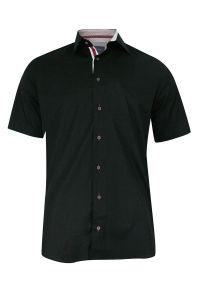 Czarna elegancka koszula Rigon na spotkanie biznesowe, z krótkim rękawem, krótka