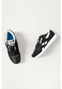 Czarne buty sportowe Reebok Nylon, na niskim obcasie
