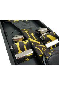 Modini - Czarne szerokie szelki męskie w żółte narzędzia SZ19. Kolor: wielokolorowy, żółty, czarny