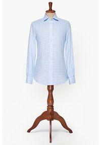 Lancerto - Koszula Błękitna w Kratę Orlean. Kolor: niebieski. Materiał: len, tkanina. Wzór: kratka. Sezon: lato. Styl: vintage, klasyczny