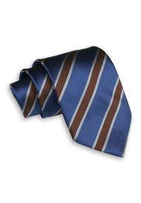 Niebiesko-Brązowy Męski Krawat -Chattier- 8cm, Klasyczny, Szeroki, Elegancki, w Grube Paski. Kolor: niebieski, beżowy, brązowy, wielokolorowy. Materiał: tkanina. Wzór: prążki, paski. Styl: klasyczny, elegancki