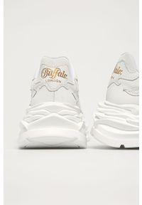 Białe sneakersy Buffalo z okrągłym noskiem, z cholewką, na obcasie, na średnim obcasie #4