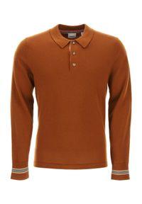 Burberry - BURBERRY - Brązowa koszulka polo. Typ kołnierza: polo. Kolor: brązowy. Materiał: wełna. Długość rękawa: długi rękaw. Długość: długie. Wzór: aplikacja. Styl: klasyczny