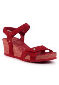 Czerwone sandały Panama Jack na obcasie, na średnim obcasie