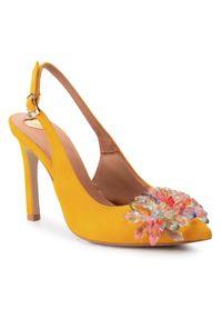 Żółte sandały R.Polański z aplikacjami, eleganckie