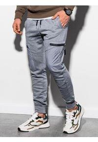 Ombre Clothing - Spodnie męskie dresowe joggery P917 - szary melanż - XXL. Kolor: szary. Materiał: dresówka. Wzór: melanż