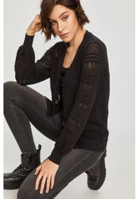 Czarny sweter rozpinany Answear Lab z długim rękawem, długi
