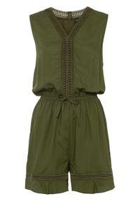 Krótki kombinezon bonprix ciemny khaki. Kolor: zielony. Materiał: koronka. Długość rękawa: bez rękawów. Długość: krótkie. Wzór: koronka