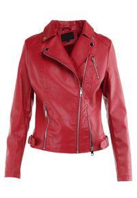 Born2be - Czerwona Ramoneska Morwena. Kolor: czerwony. Długość rękawa: długi rękaw. Długość: długie. Styl: elegancki