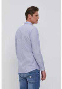Selected - Koszula bawełniana. Okazja: na co dzień. Typ kołnierza: button down. Kolor: niebieski. Materiał: bawełna. Długość rękawa: długi rękaw. Długość: długie. Wzór: aplikacja. Styl: casual