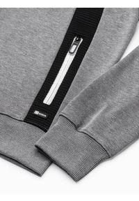 Ombre Clothing - Bluza męska rozpinana z kapturem B1073 - szary melanż - XL. Typ kołnierza: kaptur. Kolor: szary. Materiał: poliester, materiał, bawełna. Wzór: melanż