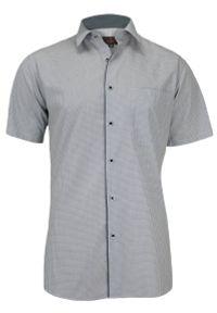 Szara elegancka koszula Jurel w kratkę, krótka, z krótkim rękawem, do pracy