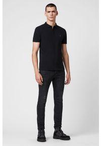 Czarna koszulka polo AllSaints na co dzień, krótka, polo, casualowa