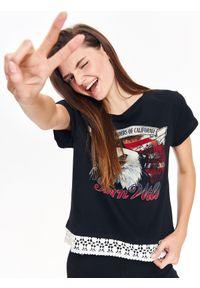 Czarny t-shirt TROLL rockowy, na zimę, na co dzień