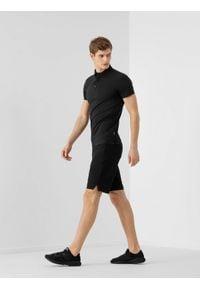 4f - Spodenki treningowe męskie. Kolor: czarny. Materiał: dzianina, skóra. Sport: fitness